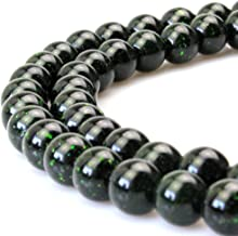 JARTC Green Sand Stone Round Stone Beads for Jewelry Making DIY Bracelet Necklace (6mm)