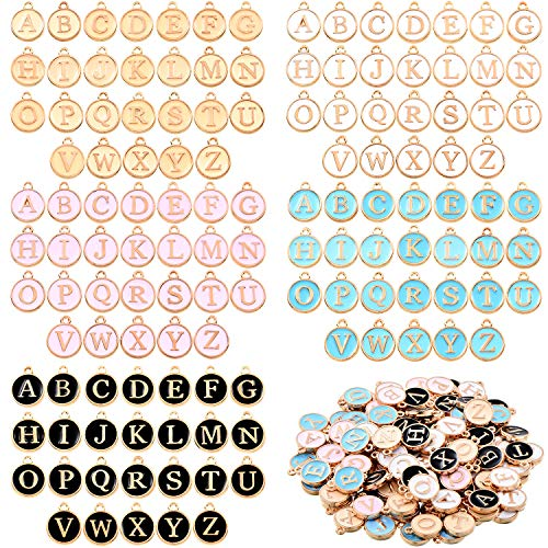 130 Pieces Beads Cute Mixed Letter Beads Metal Letter Charms 5 Colors Enamel Initial Charms Double Sided Alphabet Charms for Necklace and Bracelet Making Craft Supplies
