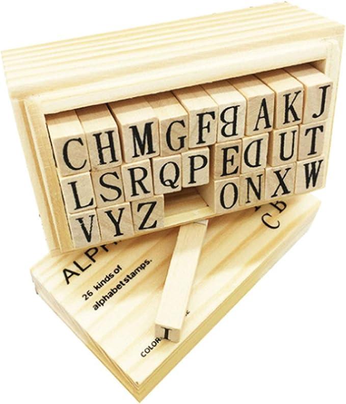 15 opinioni per 70PCS Alfabeto Lettera Timbri,Francobolli Vintage Legno,Lettera legno