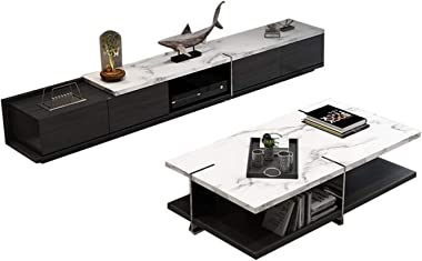 Marble TV Cabinet Modern Living Room Household Solid Wood Frosted TV Table Coffee Center Table Novel and Fashionable TV Cabin