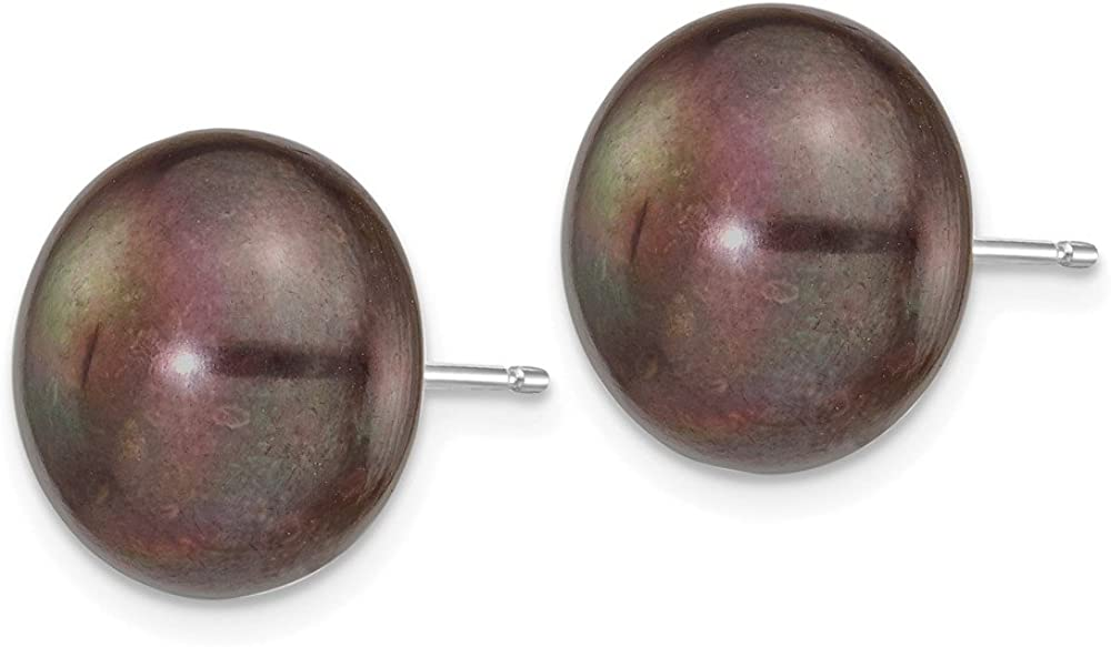 Solid 14k White Gold 12-13mm Black Button FW Cultured Pearl Stud Earrings