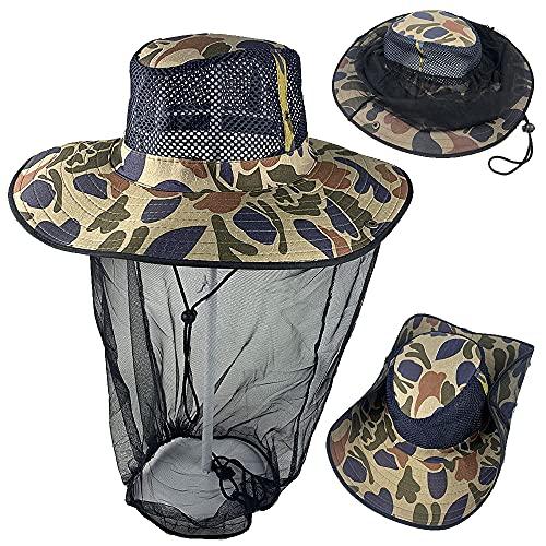 Mosquitero cabeza red pesca sombrero Fly Bug apicultor apicultura Boonie Cap velo capucha ajustable