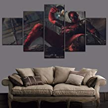 GUJIU-ART-5 pcs/5 Panels canvas painting Hd Printed Picture Poster 5 Pieces/Pcs Deadpool Movie Painting Home Wall Artwork Modular Canvas Living Room Decoration Framed-30CMx60/80CM