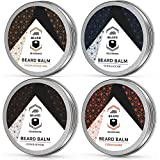 Beard Balm Variety Pack of 4 (Vanilla, Sandalwood, Cedarwood, Citrus) – Soften, Style, and Strengthen Beards and Mustaches – Made with Tea Tree, Jojoba, & Argan Oils - 1oz Each – Scented Beard Butter
