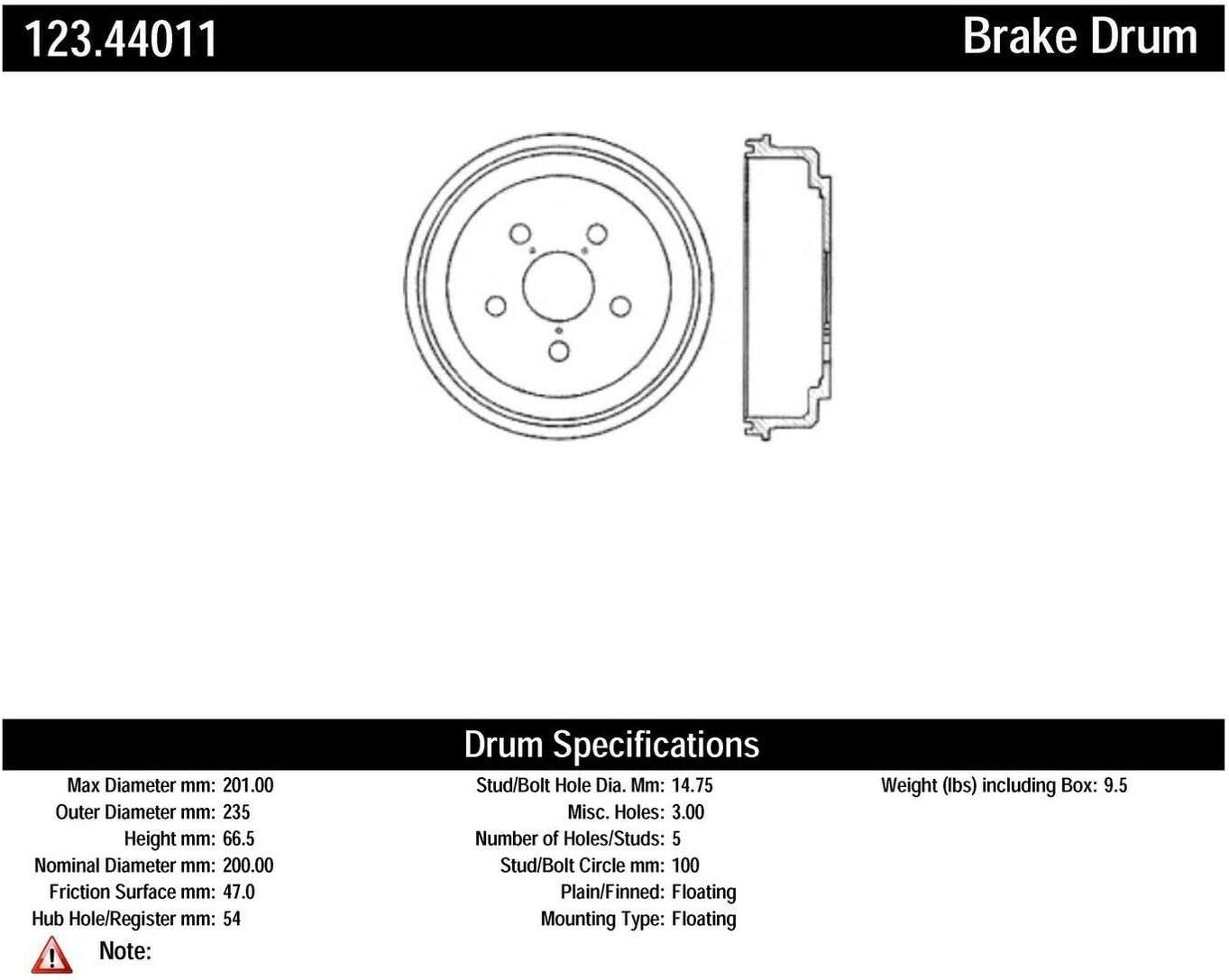 Centric Parts 123.44011 San Max 47% OFF Francisco Mall Drum Brake