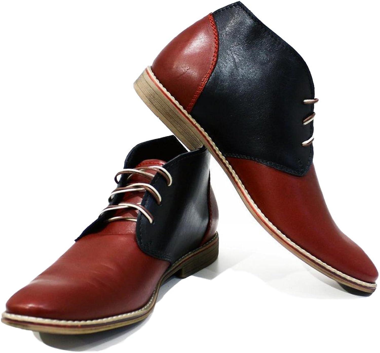 Modello Ivrea - Handgjord italiensk italiensk italiensk läder herr färg röd ankle Chukka Stövlar - Cowhide Smooth läder - Lace -Up  här har det senaste