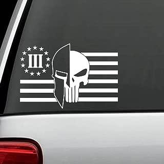 J1060 Molon Labe Helmet Punisher Three Percenter Patriot Flag Decal Sticker