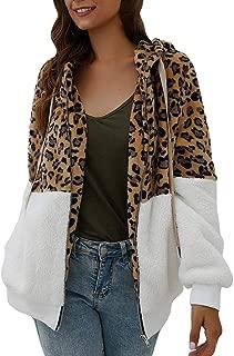 Women Jackets Full Zip Faux Fur Leopard Patchwork Fleece Long Sleeves Cardigan Zipper Winter Short Warm Coat