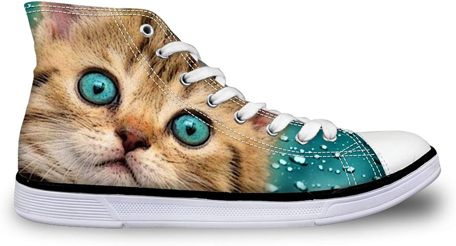 Chaqlin Cute Animal Cat Sneakers for Women High Top College Girls Canvas shoes Non-Slip