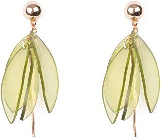 Green Gold Tone Resin Petal Drop Statement Earrings