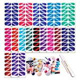 DANNEASY 16 Sheets Adhesive Nail Wraps Polish Strips Set with 1Pc Nail File + Wood Cuticle Stick Nail Art Stickers Cat Eyes Manicure Accessories