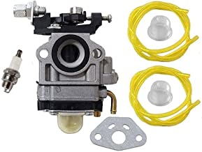 HURI Carburetor with Spark Plug Fuel Line for Jiffy Ice Auger 2 Cycle Engines 4082 Carb