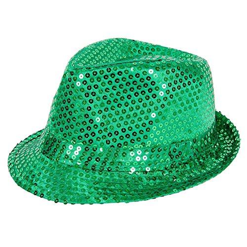 Smiffy's-44382 Sombrero De Fieltro con Lentejuelas, Color Verde, Tamaño único (44382)