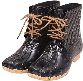 Xiakolaka Women Mid Calf Rain Boots Waterproof Garden Booties Black