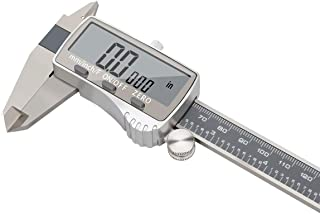 Stainless Steel Digital Vernier Caliper, Electronic Ruler Measuring Tool 0-6 Inch/150 mm, Inch/Metric/Fractions Conversion with Extra Large LCD Screen, Model E, by FstDgte
