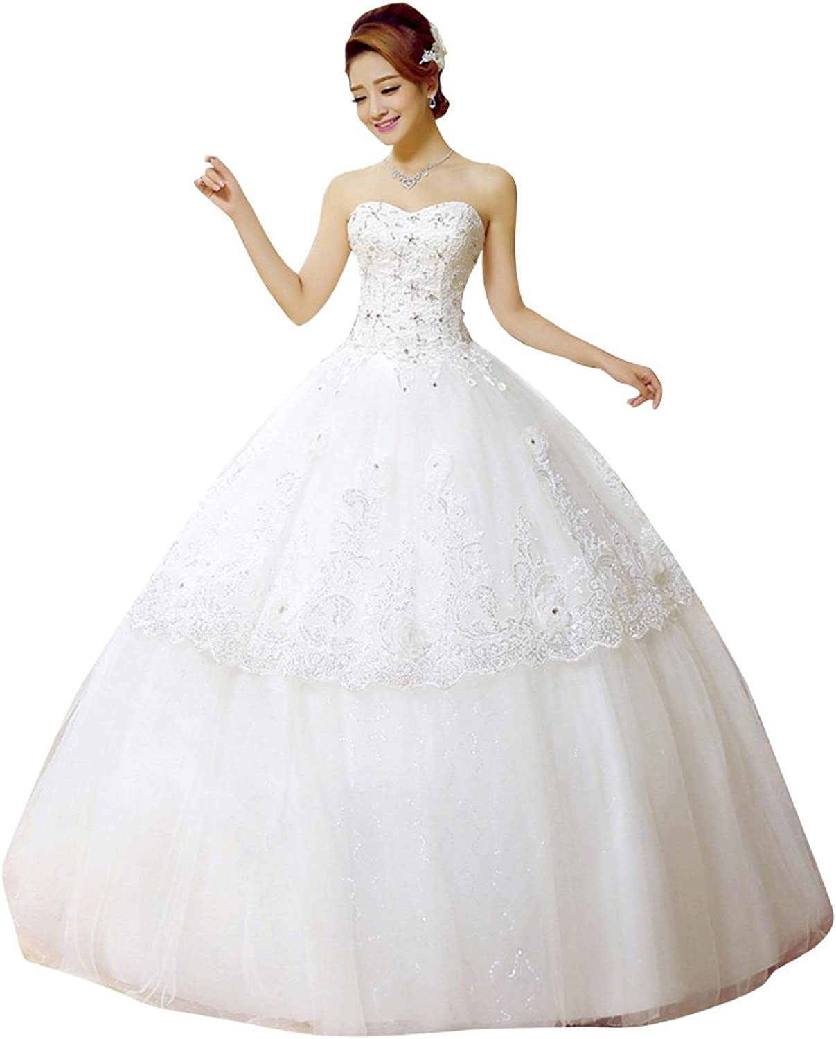 BeautyEmily Sequin Lace Sweetheart Neckline Layered Ball Wedding Gown