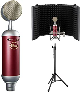 Blue Spark SL Large-Diaphragm Studio Condenser Microphone with Auray RF-5P-B Reflection Filter and RFMS-580 Reflection Filter Tripod Mic Stand