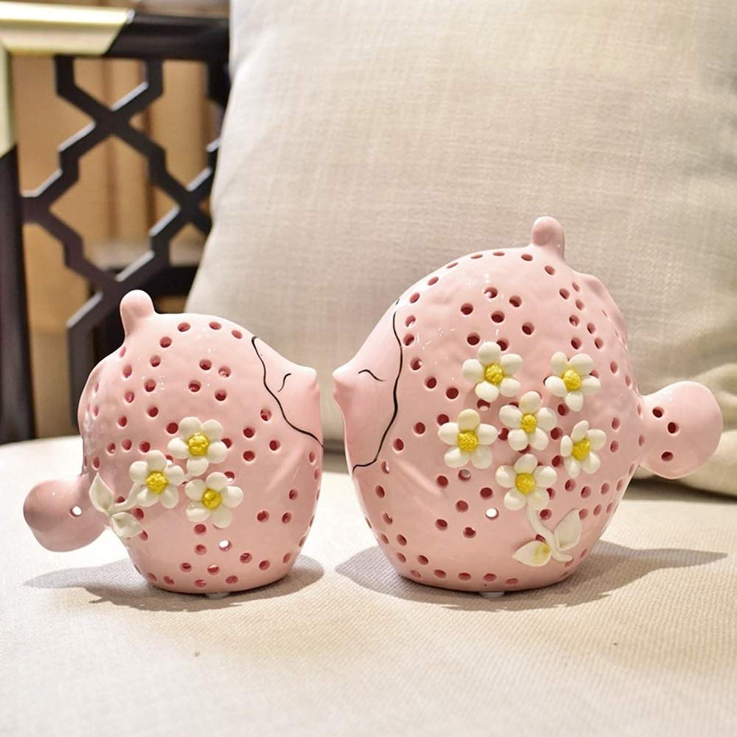 コントローラ一月に賛成アート モダンリビングルームのテレビキャビネットセラミック家庭用装飾品/装飾品/バーエントランスギフト19 * 21.5センチメートル 飾る (色 : Pink)
