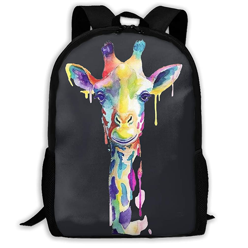 Lightweight Colorful Giraffe Printed School Backpack Water Resistant Travel Rucksack Bag Laptop Backpack Daypack,17 Inch