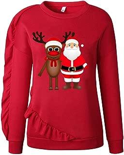 ANJUNIE Women Xmas Christmas Deer Sweatshirt Winter Pullover Basic Shirt Tops Sweater Coat