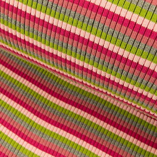 Grobstrick Bündchen Meterware Streifen College Bündchenstoff pink rosa - Preis Gilt für 0,5 Meter