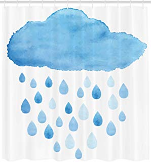 """Ambesonne Nature Shower Curtain, Rain Drops and Cloud in Watercolor Painting Effect Nimbus Fun Art Illustration, Cloth Fabric Bathroom Decor Set with Hooks, 84"""" Extra Long, White Blue"""
