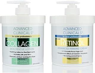 کرم مراقبت از پوست Retinol Advanced Clinicals و کرم کلاژن پیشرفته. مجموعه ضد پیری ارزشمندی برای چین و چروک ، خطوط ریز ، محکم پوست است. اندازه 16 گرم اسپا برای کرم صورت و مرطوب کننده بدن بسیار عالی است.