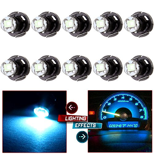 cciyu 10 Pack Ice Blue T4.2/T4 Neo Wedge LED Bulbs A/C Climate Control Light 1-2835-SMD Chips Light Bulbs Replacement fit for 1992-2000 Honda Prelude Accord etc.