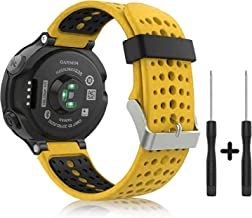 Yolleager Compatible with Garmin Forerunner Watch Band, Soft Silicone Replacement Watch Strap for Garmin Forerunner 220/230/235/620/630/735XT Watch (Yellow-Black)