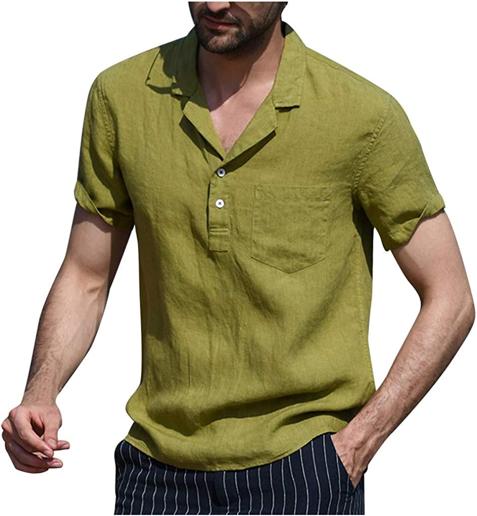 Holzkary Men's Big & Tall Short-Sleeve Tops Casual Solid Color Button Down Shirts Henley T-Shirts
