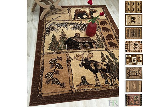 """HR-Cabin Rug–Lodge, Cabin Nature and Animals Area Rug–Modern Geometric Design Cabin Area Rug–Abstract, Multicolor Design– Moose/Bear/Lodge/Nature (5'2"""" x 7'2"""")"""