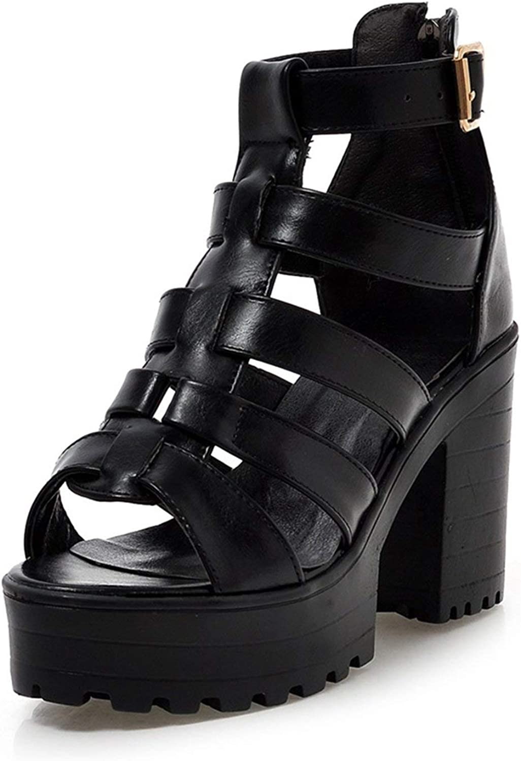 Jifnhtrs Summer Big Size 34-43 Black Women Gladiator Sandals Platform High Wide Heels shoes Woman