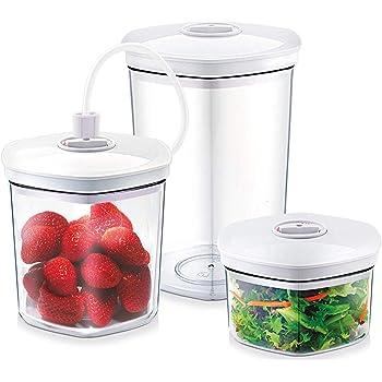CASO Behälter-Set für Vakuumierer, 3 Vakuumbehälter für druckempfindliche und flüssige Lebensmittel, passend für alle CASO Vakuumierer