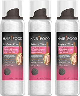 Clairol Hair Food Dry Shampoo Sulfate-Free Paraben-Free White Nectarine Pear, 4.9oz (3-Pack)