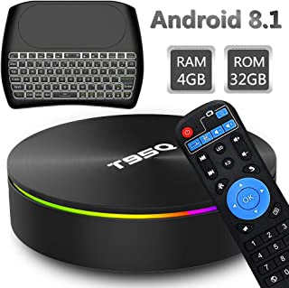 EVANPO Smart TV Box, Android 8.1 TV Player 4GB RAM 32GB ROM S905X2 Quad-core Cortex-A53 Support Dual WiFi/H.265/ 4K /3D/ HDMI 2.0/ 1000M Ethernet/BT 4.1 Media Box with Wireless Mini Keyboard