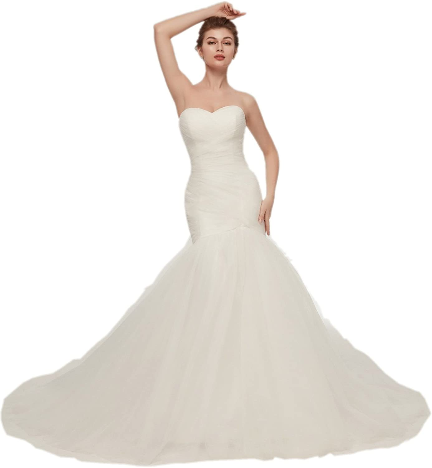 Darcy74Dulles Women's Sexy Strapless Straps Tulle Wedding Ball Gown Elegant
