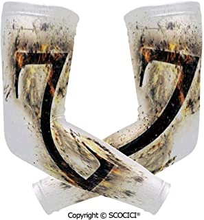 Comfort and Durable Lightweight Arm Guard Sleeve Alphabet Character Capital Z in Burning Medieval Gothic Surrounded by Fire Decorative Breathable, Flexible Sleeves Protection