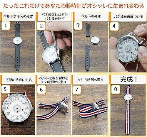 『【 気分に合わせて簡単交換 】 (ネイビー/グリーン 18mm) NATO タイプ ナイロン ベルト ストラップ 腕時計 2PiS 【 交換マニュアル付 】』の7枚目の画像