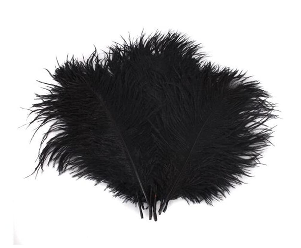 20PCS Home Decor 6-8 inch/15-20 cm long Natural Plume Ostrich Feathers Wedding Party Decoration Great Decorations Halloween Hair Decoration (Black)