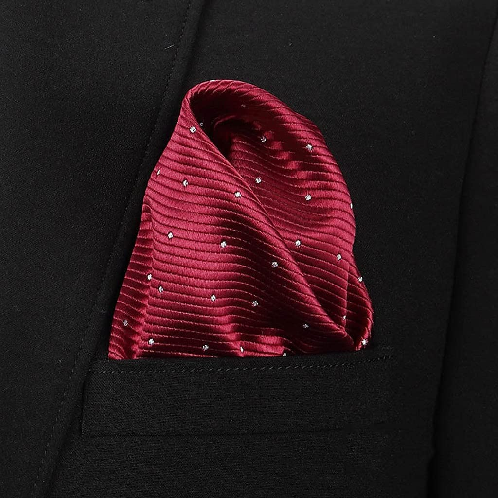 WPYYI Fashion 100% Silk Hankerchief Scarves Vintage Hankies Men's Pocket Square Handkerchiefs Striped Solid Snot Rag (Color : C, Size : 2222 cm)