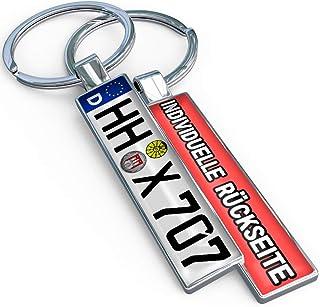 Minikennzeichen Beidseitiger Schlüsselanhänger Kennzeichen mit Name Wunschtext Logo Bild Nummernschild Personalisiert   Ideales Geschenk