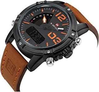 Mens Waterproof Sports Digital Leather Band Wrist Watch Multi-Function Display Backlight Watches
