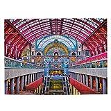 Estación de Tren de Bélgica Rompecabezas para Adultos, 500 Piezas de Madera, Regalo de Viaje, Recuerdo, 20.4 x 15 Pulgadas