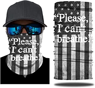 Black Lives Matter I Can't Breath Neck Gaiter Face Mask Mouth Cover Bandanas Multifunctional Headwear Balaclavas for Dust Outdoors, Festivals, Sports-6 Pack