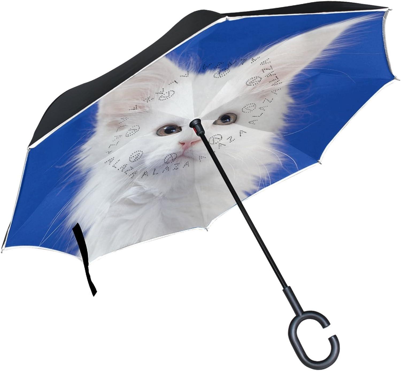 ALAZA Cat Kitten blueee Background Ingreened Double Layer Windproof Reverse Umbrella