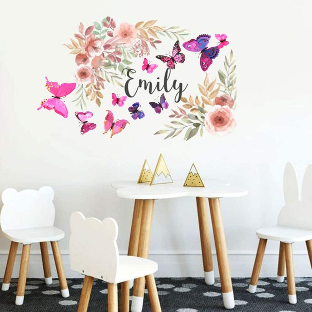AgeXinjo Mixed of 24PCS 3D Butterfly Wall Stickers Decor Art Decorations for Kids Bedroom Nursery Classroom Offices Living Room Single Layer Pink