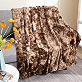 Beglad Faux Fur Throw Blanket, Super Soft Warm Cozy Tie Dye Sherpa Blanket, Shaggy Lightweight Large Fuzzy Throw Blanket, Plush Fluffy Blankets Suitable for Sofa, Couch or Bed, 50' X 65', Brown