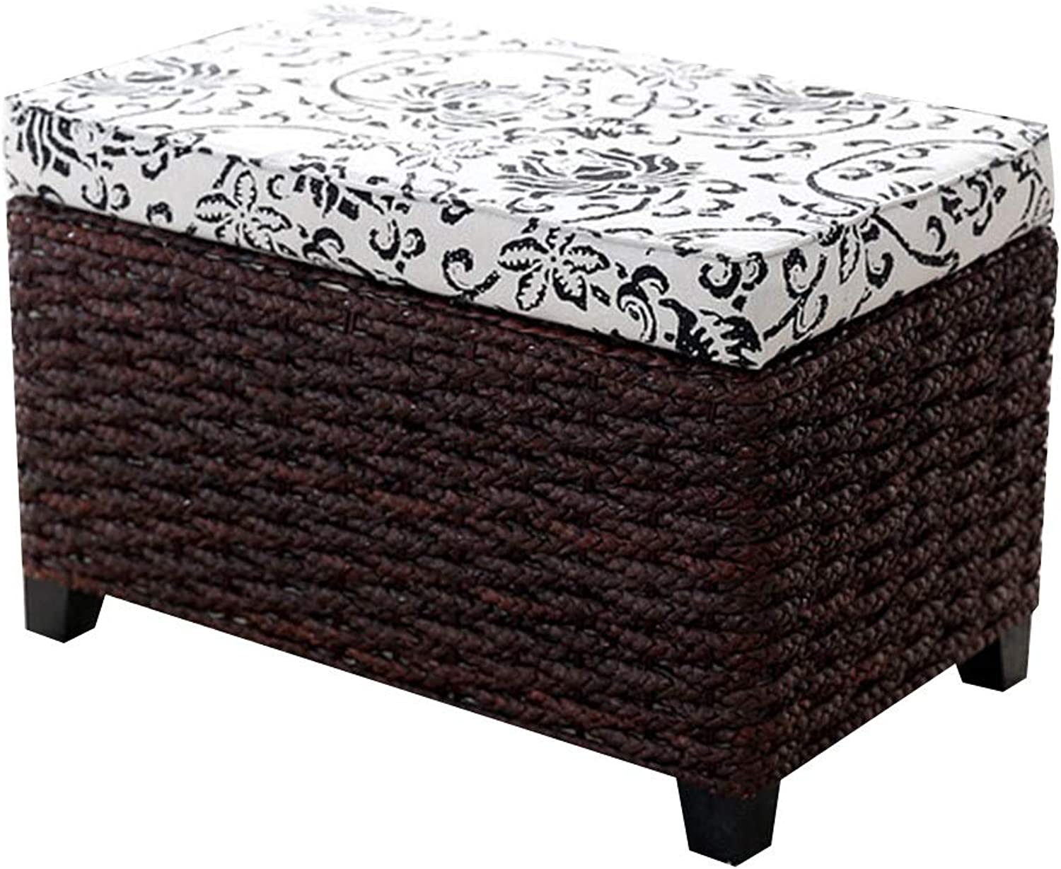 LSXIAO Pouffes And Footstools Storage Stool Large Capacity Solid Wood Frame Natural Plants Hand Made Seat Cover Removable and Washable, 5 Sizes (color   Brown A, Size   50x30x31cm)