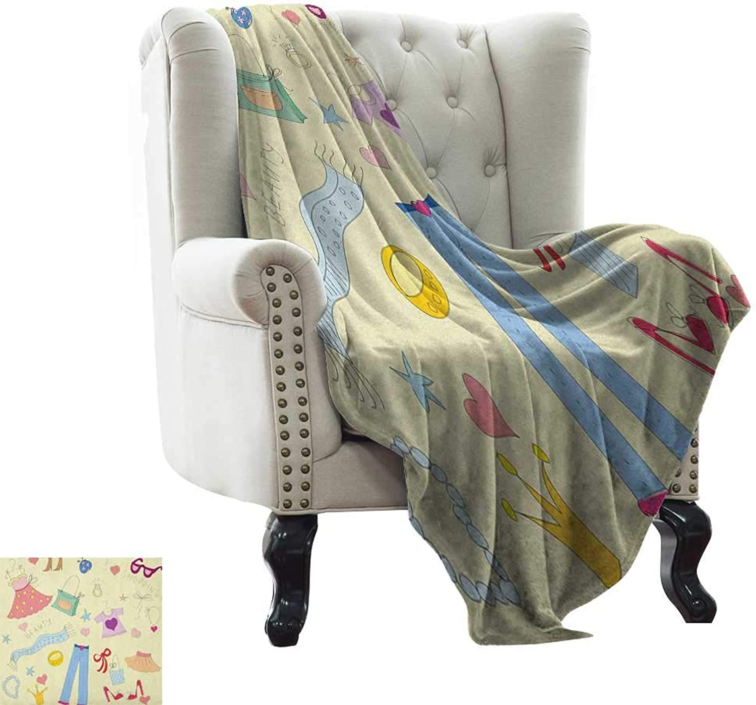 Throw Blanket Heels and Dresses,Shopping Themed Doodle Items Princess Beauty Hearts and Stars Girls Room, Multicolor All Seasons Anti-Static Couch Blanket Travelling Camping Blanket 35 x60