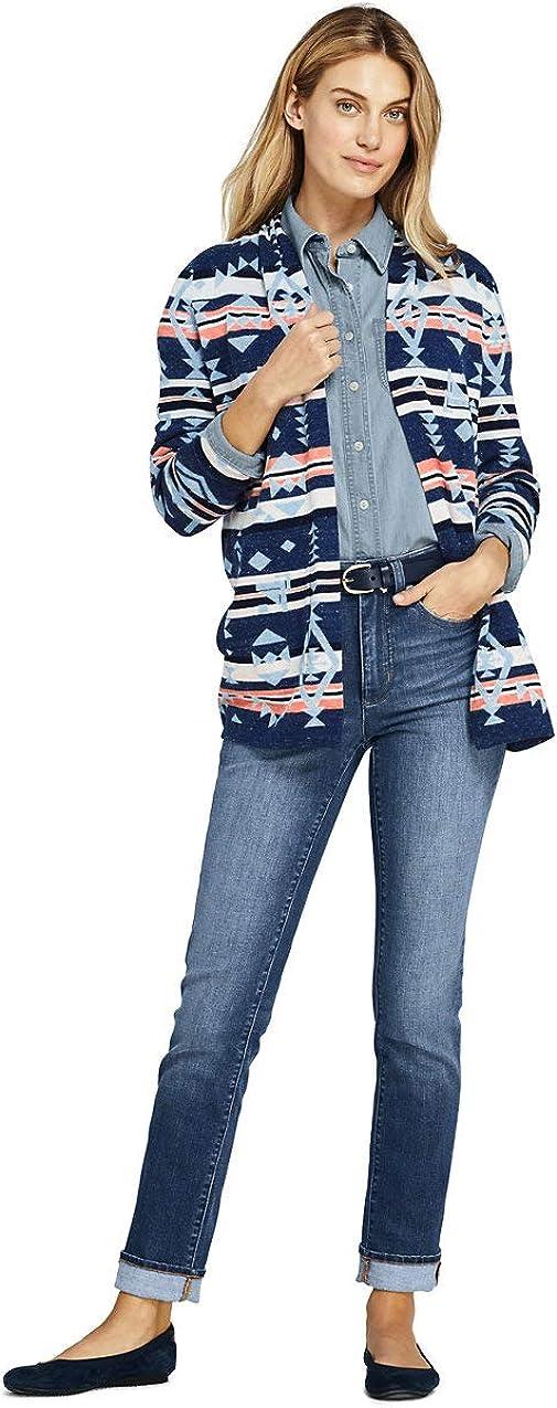 Lands' End Women's Cotton Open Long Cardigan Sweater Navy Snow Heather Southwest